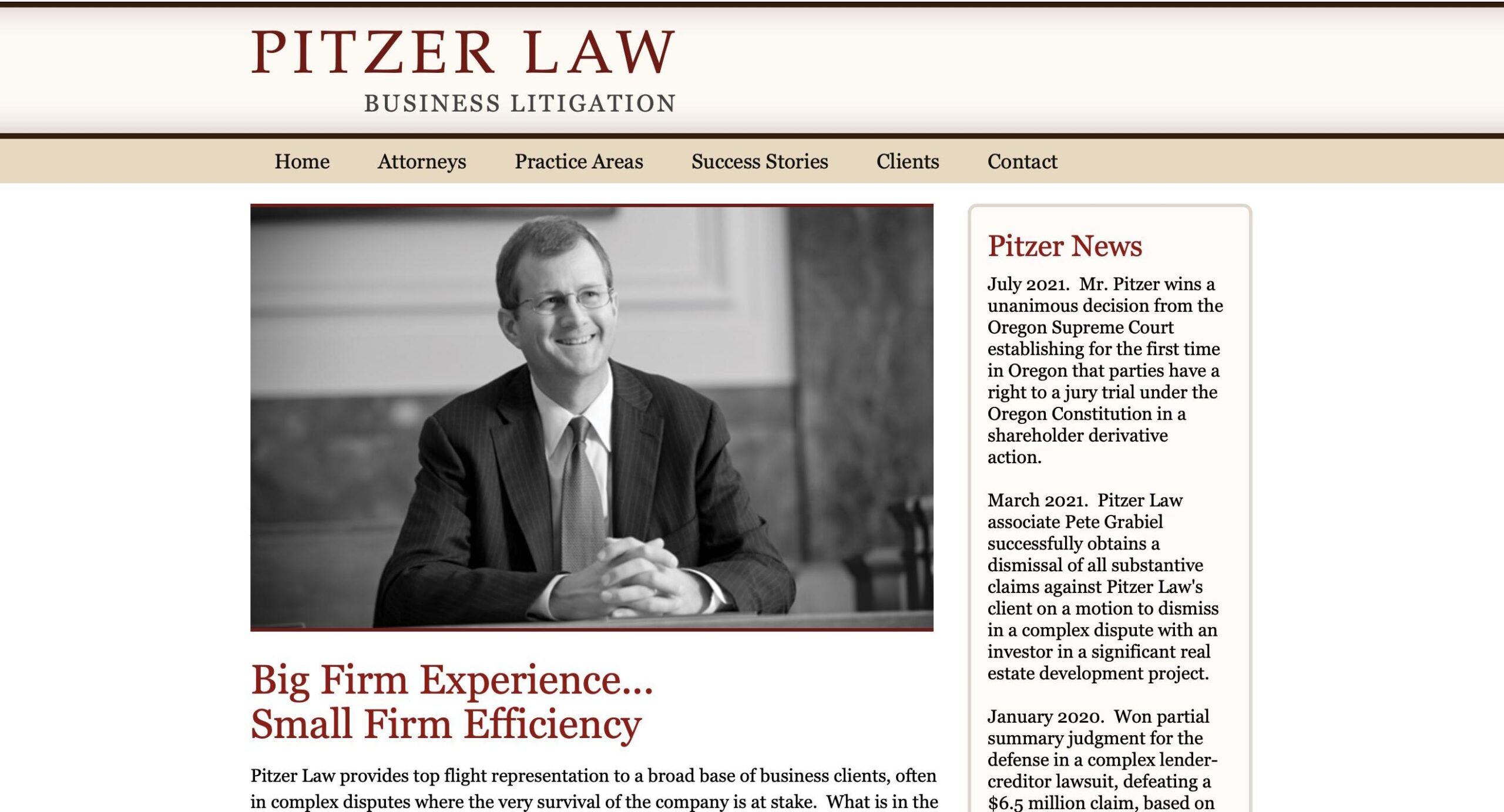Marketing consultant - website developer project for Pitzer Law