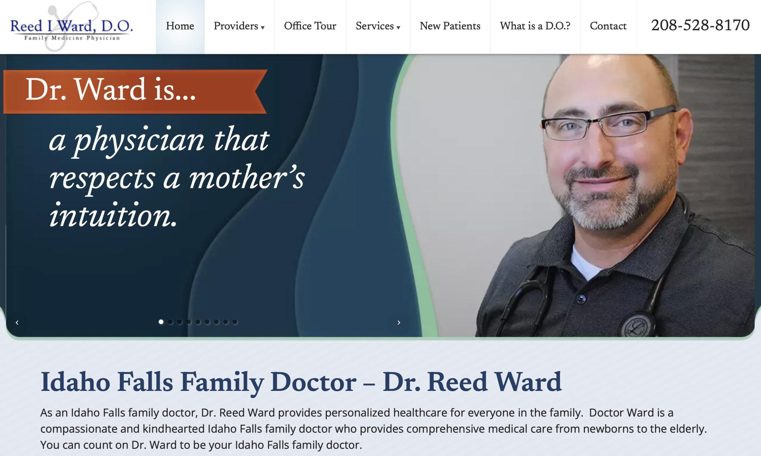 Marketing consultant - website developer project for Dr. Reed Ward