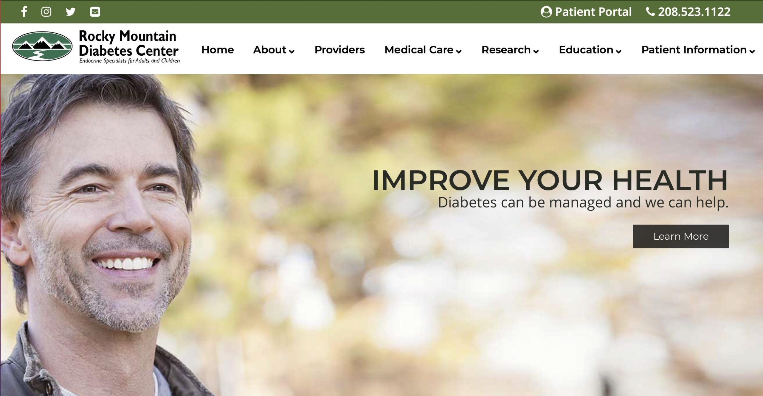 Marketing consultant - website developer project for Rocky Mountain Diabetes Center